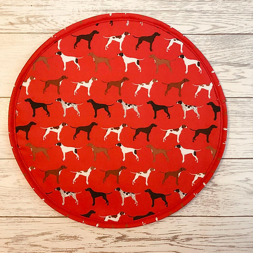 Pair of Red Pointer Aga Hot Plate Covers