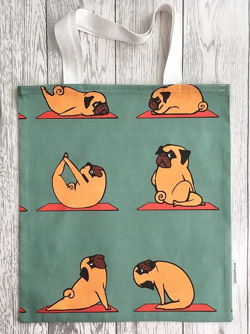 Yoga Pug - Green Bag for Life