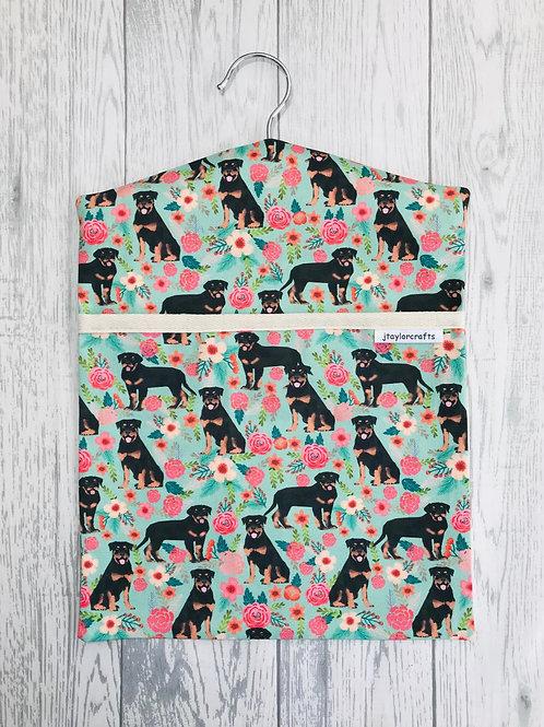 Rottweiler Floral Peg Bag