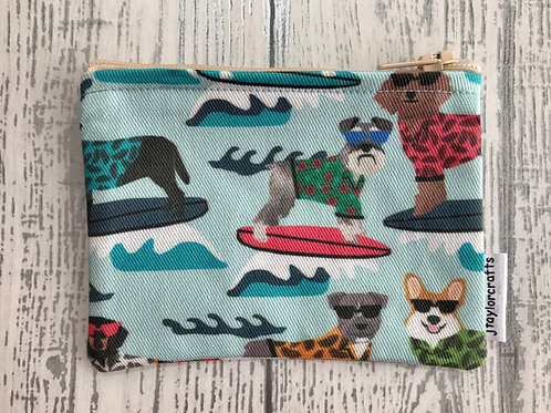 Blue Surfing Dogs Fabric Coin Purse