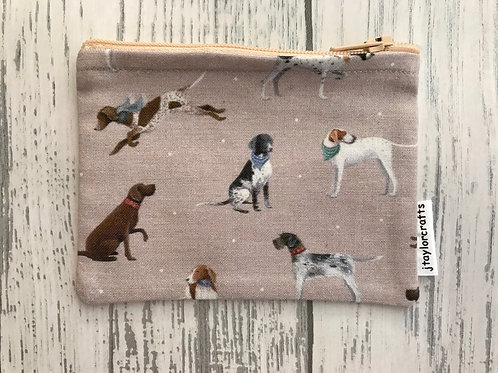 Vintage Pointer Tan Fabric Coin Purse