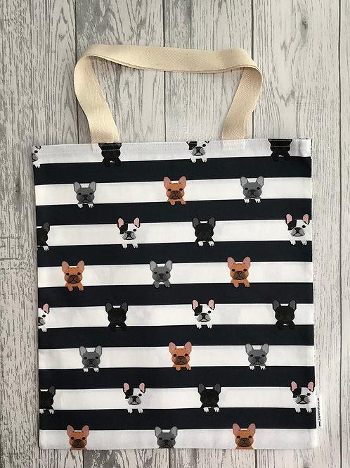 French Bulldog Navy & White Stripe  - Bag for Life