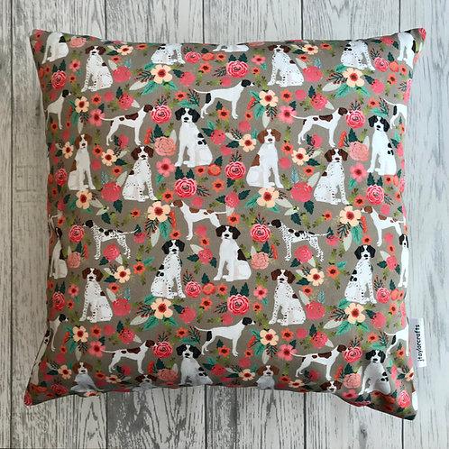 Pointer Dog Tan Floral Cushion Cover