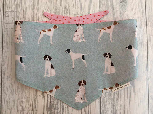 Light Grey & Pink Pointer Dog Reversible Tie Bandana