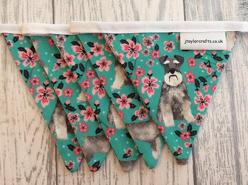 Schnauzer Floral Dog Print Bunting