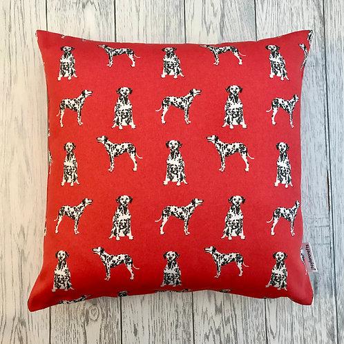 Red Dalmatian Dog Print Cushion Cover