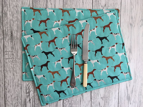 Blue Pointer Print Fabric Table Mats