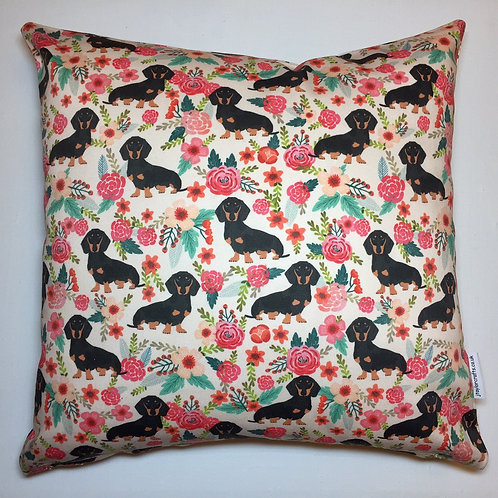 Dachshund Floral Cushion Cover