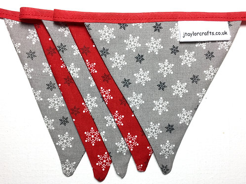 Red and Grey Snowflake Christmas Bunting
