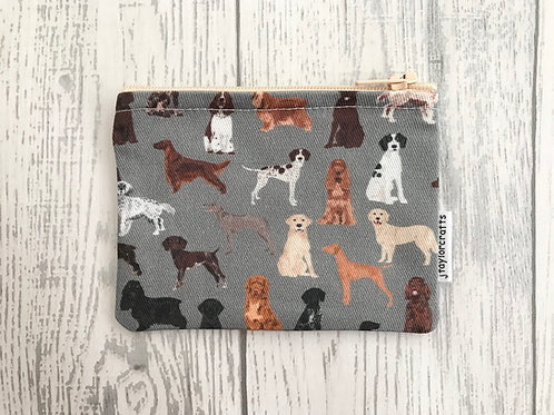 Grey Hunting Dogs Fabric Coin Purse