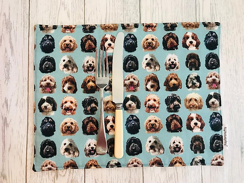 Cockerpoo / Doodle Dog Print Fabric Table Mats