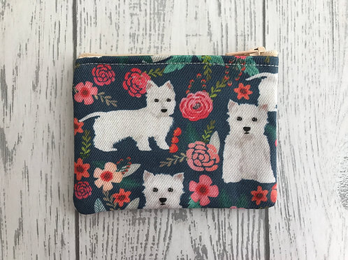 Westie Blue Floral Fabric Coin Purse
