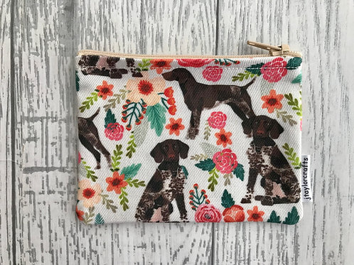 Floral German Shorthaired Pointer Fabric Coin Purse