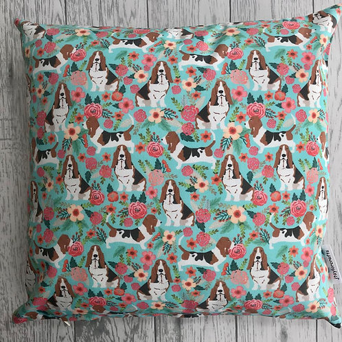 Basset Hound Dog Print Floral Cushion Cover
