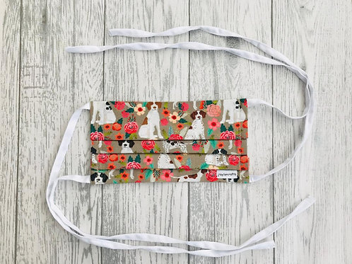 Pointer Floral Pleated Face Mask