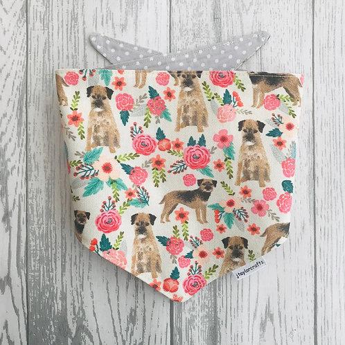 Border Terrier Floral Dog Reversible Tie Bandana