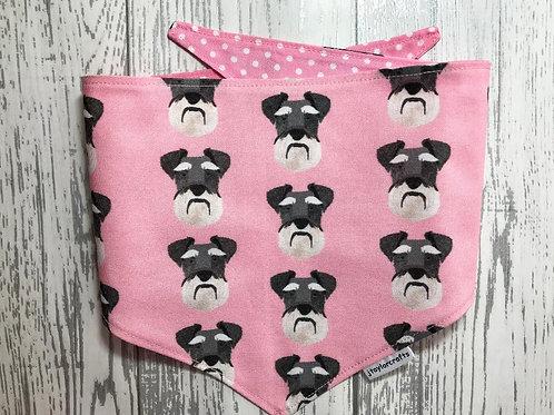 Pink Schnauzer Dog Reversible Tie Bandana
