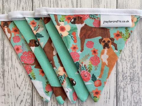 Boxer Dog Green & Floral Print Bunting