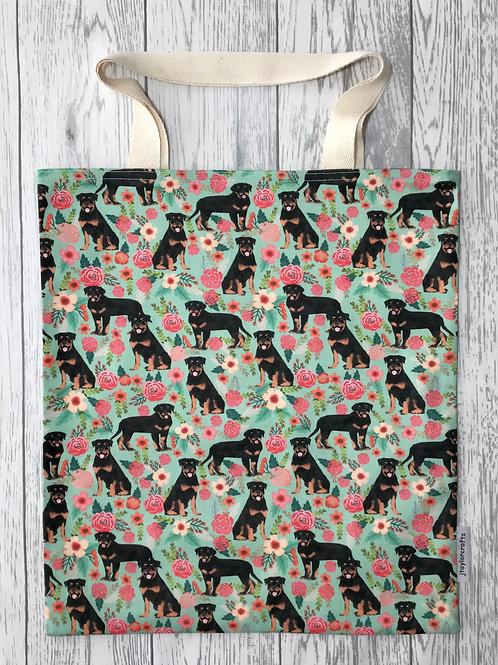 Green Rottweiler Floral Bag for Life