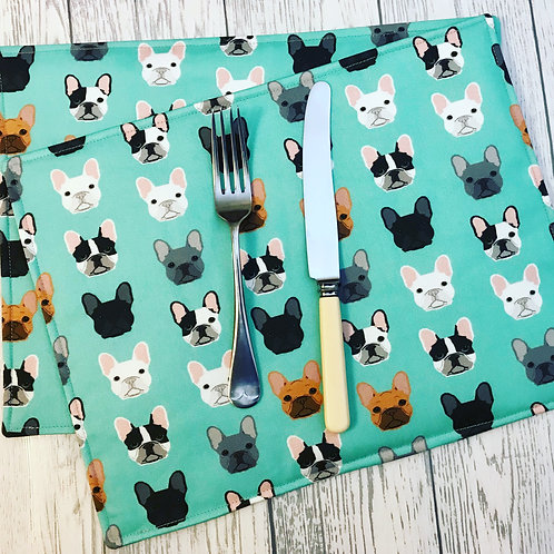 French Bulldog Print Fabric Table Mats