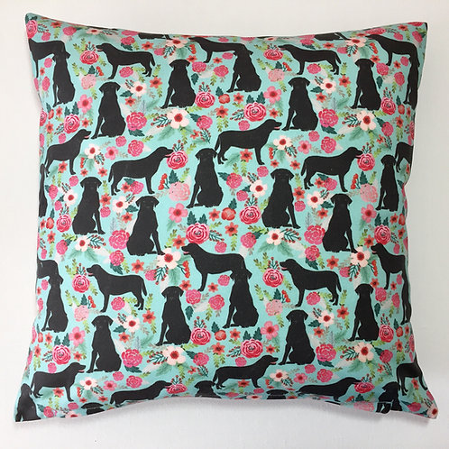 Black Labrador Turquoise Cushion Cover