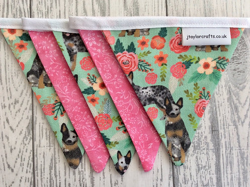Australian Cattle Dog Floral Bunting