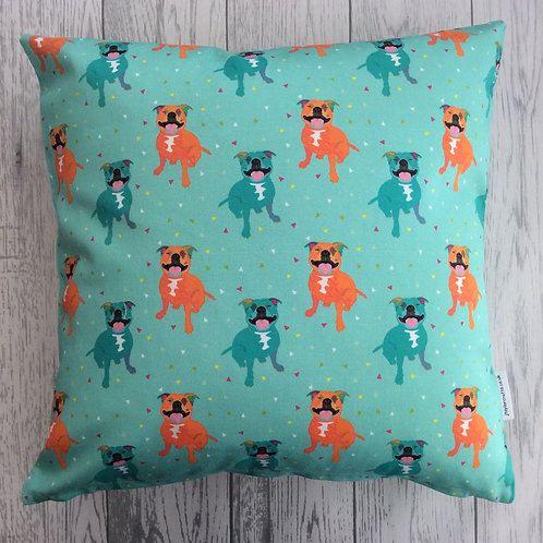 Staffie Green Cushion Cover