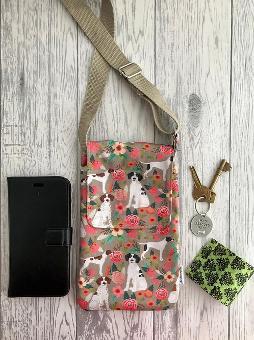 Tan Floral Pointer Handy Shoulder Bag