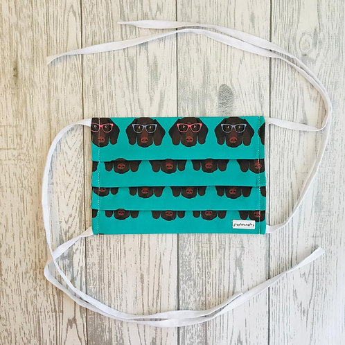 Handmade Green GSP Pleated Face Mask