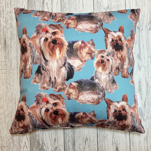 Yorkshire Terrier Blue Dog Print Cushion Cover