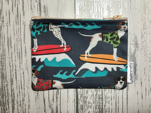 Blue Surfing Pointers Fabric Coin Purse