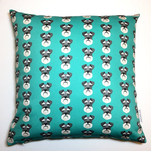 Schnauzer Sea Green Dog Print Cushion Cover