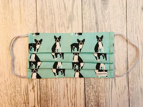 Boston Terrier Pleated Face Mask