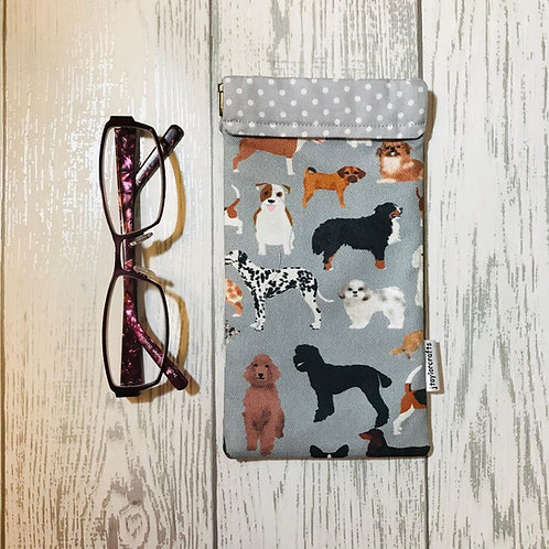 Grey Mixed Dogs Glasses Case