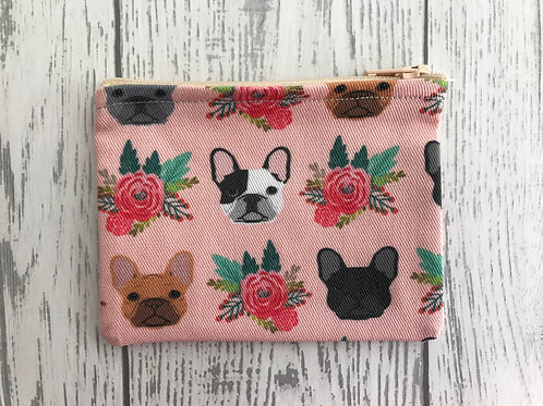French Bulldog Pink Floral Fabric Coin Purse