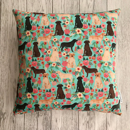 Labrador Turquoise Floral Cushion Cover