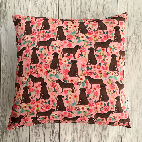 Chocolate Labrador Print Cushion Cover