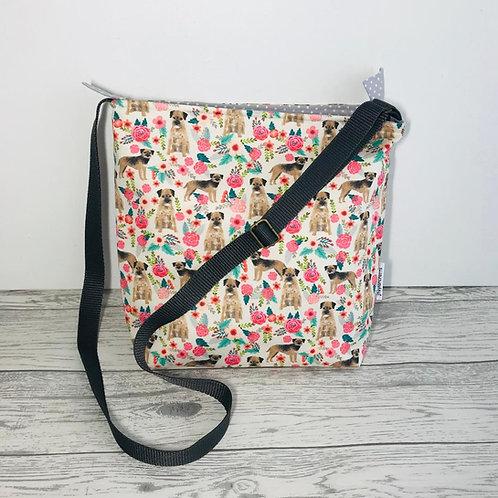 Border Terrier Floral Tote Shoulder Bag