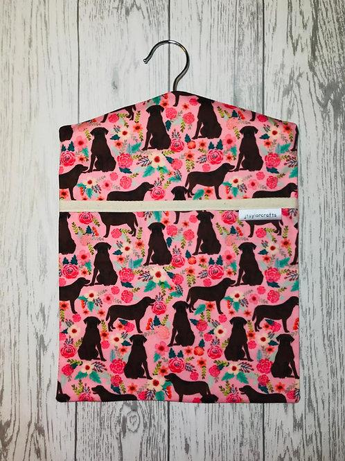 Chocolate Labrador Floral Dog Peg Bag