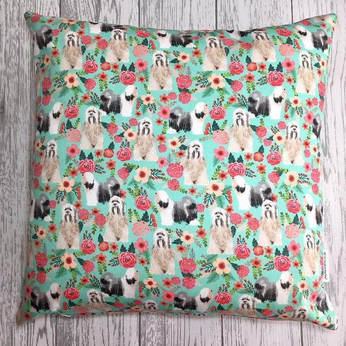 Blue Tibetan Terrier  Floral Cushion Cover