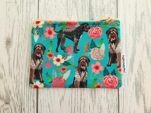 German Wirehaired Pointer Floral Coin Purse
