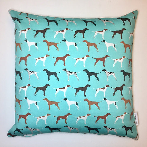 Turquoise Pointer Dog Print Cushion Cover