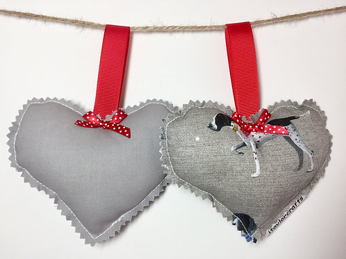 Vintage Style Pointer Print Decorative Hearts