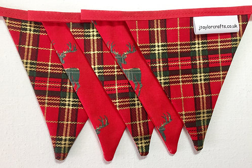 Christmas Stag and Red Tartan Bunting