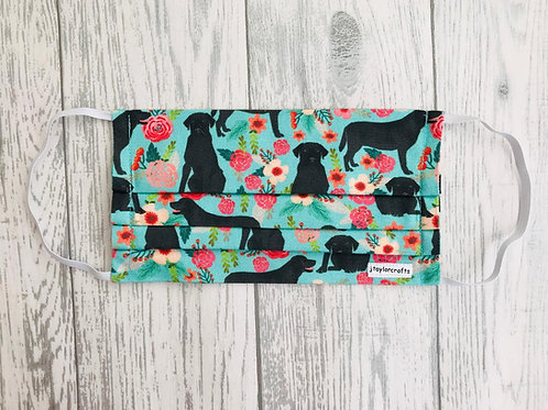 Floral Black Labrador Pleated Face Mask