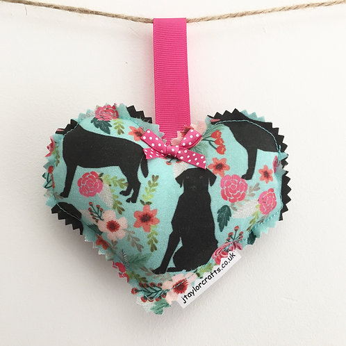 Black Labrador, Pink and Turquoise Floral Print Cotton Fabric Decorative Heart