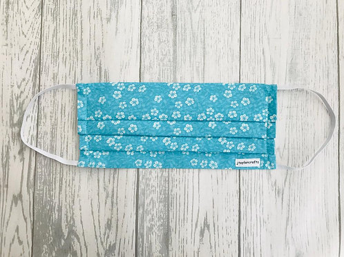 Turquoise Floral Pleated Face Mask