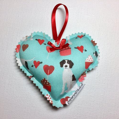 Blue Pointer Print Decorative Heart