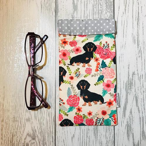 Floral Dachshund Glasses Case