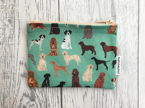 Green Hunting Dogs Fabric Coin Purse